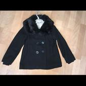 Пальто весеннее с мехом H&M 116 демисезон