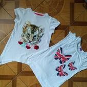 Красивенные фирменные футболки-тунички для девочки 4-6 лет в отличном состоянии