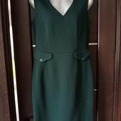 Фирменное новое красивое платье из структурной ткани р.10-12 цвет изумруд