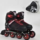 Ролики раздвижные 8903 L best roller 39-42 колёса PU без света, в сумке, d 7.6 см