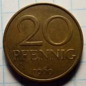 Германия - ГДР 20 пфеннигов 1969 год