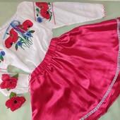 "Украинский костюм ""Маки и волошки""на девочку 116-128.льон"