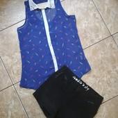 Шорты с кожаными вставками +блуза YD Primark , состояние отличное