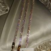 дорогой шикарный браслет весь в фианитах, длина 17/19.5 см, позолота 585 пробы