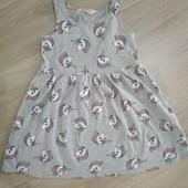 Платье с единорожкой от H&M на возраст 4-5 лет в хорошем состоянии