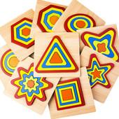 Деревянная развивающая/обучающая рамка вкладыш пазл сортер Фигуры «Восьмиугольник»