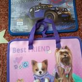 Пластиковая папка-портфель на молнии. 2 в лоте! Для мальчика и девочки.