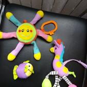 Подвески на коляску, мягкая игрушка, на кроватку солнышко, жирафик и рыбка, Лот 3 шт.