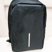 Рюкзак антивор с выходом для USB Design Body с защитой от карманников черный ( реплика)