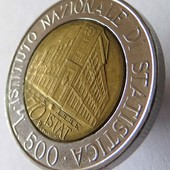 монета Италия, юбилейная 1996, 500 лир, 70 лет Национальному институту статистики