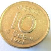 монета Швеция 10 эре, 1961, серебро!