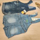 Германия!!! Лот из 2 симпатичных джинсовые комбинезонов шортиками! 62 рост!