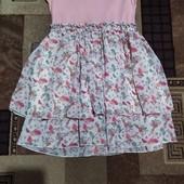 Платье для девочки 5-7 лет. Состояние хорошее.. Верх трикотаж, низ шифон.