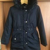 Куртка, еврозима, внутри мех, р. 9-10 лет 140 см. Bluezoo. состояние отличное цвет-cиний