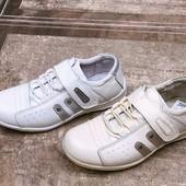 Кожанные полностью детские кроссовки белые,бежевые унисекс - ортопеды Walker Венгрия.