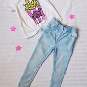 Эксклюзив! Крутой лук: брендовые мягкие скинни и футболка с майетками и завязками на 3-4г как новые