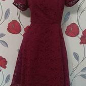 Платье бордо с перфорацией на подкладке
