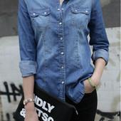 Собираем лоты!! Стильная джинсовая рубашка, размер 36/6