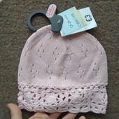Шапка вязанная розовая демисезонная детская девочке 1-2г 12-18-24мес, бренд «Cherokee» (США) новая