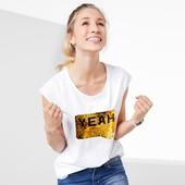Шикарная мягкая футболка с принтом, 100% био-хлопок, Tchibo(Германия), рр. наши: 46-50 (M евро)
