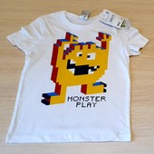 Біла футболка, для любителів комп'ютерних монстрів розмір 110, бренд palomino