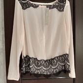Фирменная новая красивая шифоновая блуза с ажурными вставками р.12-14