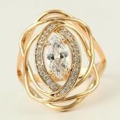 супер! шикарное кольцо Маркиз с фианитами и алпанитом, р.18, 18.5, 19, позолота 585 пробы