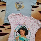 Две симпатичные, фирменные футболки для девочки 5-6 лет. Замеры