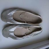серо-серебристые кожаные лодочки по стельке 24см