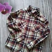 Тёплая котоновая рубашка на мальчика 7-9 лет 130 рост