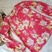 Яркая натуральная рубашка-туника на девочку 12 лет