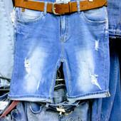 Новые турецкие стрейчевые джинсовые шорты, поб 50 см, пот 41 см. Высокая талия