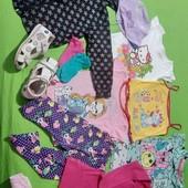 Пакет детской одежды на 4-6 лет + босоножки 18,5 см, для дома, дачи, двора.