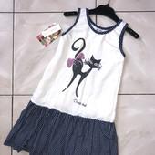 Стоп!❤️Летнее платье с кошечкой для девочки❤️Осталась бирка. Много лотов, заходите)