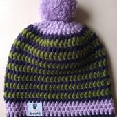 Фирменная новая красивая шапка с бубоном р. 52-57 оверсайз