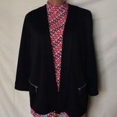 Фирменный фактурный кардиган/пиджак с замочками,в идеале! Р 14(L/xl)