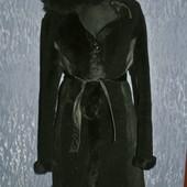 Шикарная натуральная шуба-дубленка L 44-46р. с капюшоном