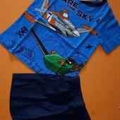 Фирменные комплекты, пижамки с шортами, трикотаж planes 98/104 2-4года