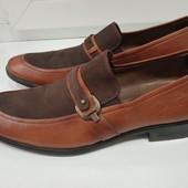 Бомбезные мужские туфли. Снаружи натуральная кожа+нубук, внутри кожа, 30 см