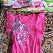 Шикарная фирменная футболочка- туничка YD на девочку 7-8 л. Идеал!