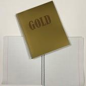 Зошит на 48 аркушів в клітинку на спіралі, формат В5. із нанесенням Золотого тиснення.В лоті 2 штуки
