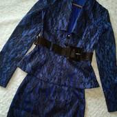 Montella. Шикарный женский костюм двойка пиджак +юбка. размер 42,44.