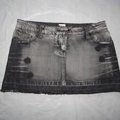 M-L, поб 48-50, эксклюзив! джинсовая юбка рванка Morgan с черными стразами