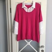 Свитер с шифоновыми рукавами и воротником под рубашку р 3-4 XL см замеры