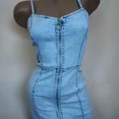 Шикарное джинсовое платье-сарафан с молнией! состояние идеал!!!