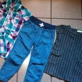 Хороший лот фирменных вещей √√ джинсики H&М на резинке ,плотненькое Zara платье и платье/халат √√
