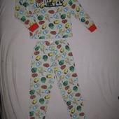 Отличное состояние! Тёпленькая трикотажная пижама на 9-10 л и р 134-140 см!