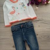 Красивейшая кофта и джинсы утеплённые для малышки 3-6мес. Очень хорошее состояние