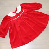 Алое велюровое пышное платье, 3-4-5 лет