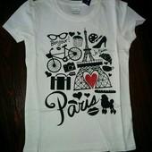 Нова красива біла футболка Париж на 4 роки від Old Navy для дівчинки